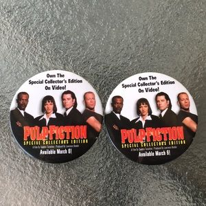 Lot of 2 1996 Pulp Fiction Promotional Buttons